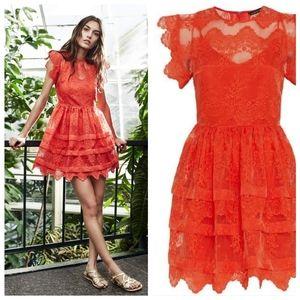 Marissa Webb Kallisti Lace Dress in Coral Flame